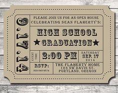 Graduation Party - Party Invitation- Admission -Movie Ticket- Stub- Print Order Deposit or Digital File Setup for DIY Printing