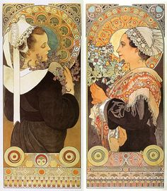 Words can barely express my appreciation for the work of Alphonse Mucha and Art Nouveau sensibilities. Art Nouveau Pintura, Art Nouveau Mucha, Alphonse Mucha Art, Art Nouveau Poster, Art And Illustration, Art Deco, New Art, Vintage Art, Art History