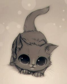 ♥ illustrated kitten with huge eyes