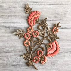 Floral Design Fabric Pearls Appliqué-Sew on Applique-Silk Hand Embroidery Patterns Flowers, Hand Embroidery Videos, Hand Embroidery Flowers, Embroidery Suits Design, Hand Work Embroidery, Flower Embroidery Designs, Creative Embroidery, Silk Ribbon Embroidery, Floral Embroidery