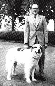 Alanbrooke with Bedat de Mondo - a Pyrneean Mountain Dog given to him (AB was born in the French Pyrenees at Bagneres de Bigorre).