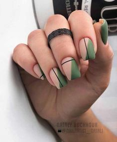 Simple Line Nail Art Designs You Need To Try Now line nail art design, minim. - Simple Line Nail Art Designs You Need To Try Now line nail art design, minimalist nails, simple - Cute Acrylic Nails, Cute Nails, Pretty Nails, Acrylic Nails Green, Matte Green Nails, Minimalist Nails, Nail Polish Designs, Nail Art Designs, Nails Design