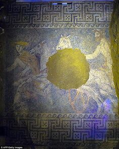 An imposing mosaic of a man driving a chariot (pictured) has been uncovered in the largest antique tomb ever found in Greece. The find in Amphipolis in northern Macedonia adds weight to archaeologists' suspicions that the burial mound could hold the remains of a family member of Alexander the Great - perhaps his mother