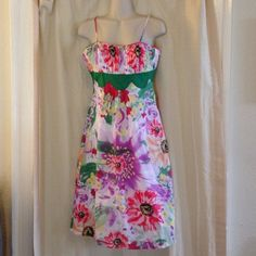 Spaghetti Strap Summer Dress Light and airy summer spaghetti strap dress.  Size small by Aryeh. Such a lovely floral print with a pleated bodice and green inside empire waist. Aryeh Dresses