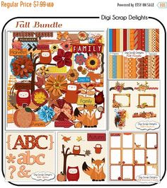 50% OFF TODAY Fall Scrapbook Kit Bundle,  Autumn Owls, Leaves, Fox, Pumpkin, Clip Art Instant Download  #Scrapbooking #Autumn #Fall #Owls #Scrapbookingkits #Papers #DigiScrapDelights #ClipArt #Pumpkins #Thanksgiving