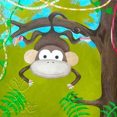 """""""One Little Monkey"""" Canvas Artwork can be personalized at www.ccartdecor.com."""