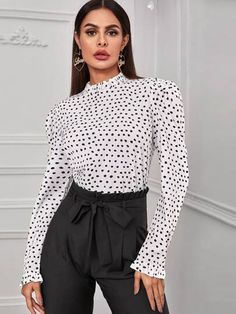 Polka Dot Blouse, Polka Dots, Lingerie Sleepwear, White Patterns, Types Of Sleeves, Silhouettes, Types Of Shirts, Short Dresses, Blouses