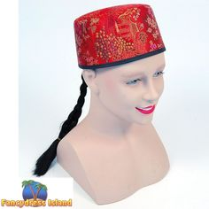 CHINESE MANDARIN FABRIC HAT WITH HAIR mens womens fancy dress costume accessory  sc 1 st  Pinterest & Mandarin Hat with Braid - Chinese Costume Accessories   Decor Ideas ...