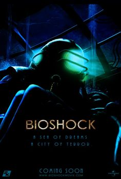 "Cool Fan-Made Video Game Movie Poster Art - ""Bioshock"" Bioshock Rapture, Bioshock Game, Bioshock Series, Bioshock Infinite, Video Game Movies, Video Game Art, Video Games, Gaming Posters, Film Posters"