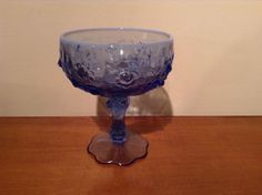 Vintage Blue Fenton Glass Compote, Goblet, Candy Dish, Jewelry Art Deco