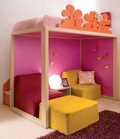cute pink room...love that it creates lots of space!