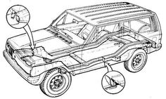 """The Jeep XJ does have a frame, but it is welded to the body. The x-ray view of the XJ unibody. While it has an integrated """"chassis"""" that carries the running gear, the body structure is an integral part of the assembly."""