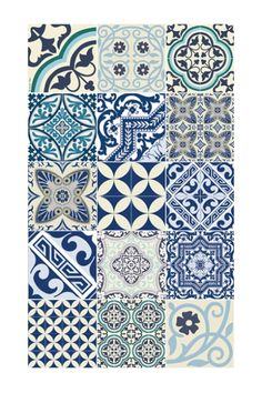 Tapis E8 60 x 100 cm collection eclectic bleu