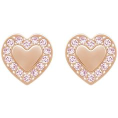 Swarovski Heart Micro Pierced Earrings ($47) ❤ liked on Polyvore featuring jewelry, earrings, heart jewelry, pave heart earrings, swarovski jewellery, sparkly earrings and rose jewelry