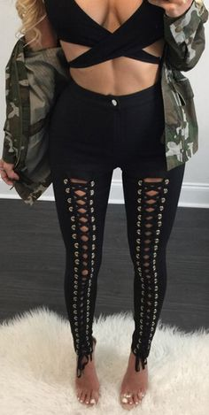 Gothic Punk Style Lace Up Stretchy Skiny Pants