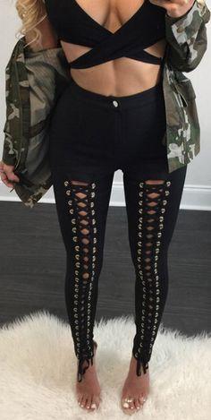 Gothic Punk Style Lace Up Stretchy Skiny Pants