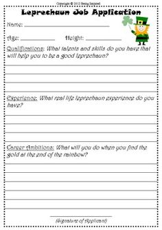 St. Patrick's Day Creative Writing - Leprechaun Help Wanted