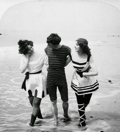 30 Interesting Photos of Swimwear Styles in the Victorian Era   In the early Victorian era women had worn serge or dark flannel bathing dresses, but by the 1860s two piece belted costumes replaced the earlier styles. The swimwear bodice top was jacket like and the swimsuit bottom part three quarter trousers which had been rejected only a decade earlier when Amelia Bloomer urged women to adopt them.