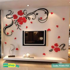 Incroyable Rose Flower 3D Acrylic Wall Stickers Home Modern Brief Decor DIY  Self Adhesive Removable Decals