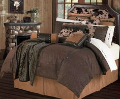 Our Caldwell comforter set is a chocolate faux, tooled leather bedding set with rich, western feel. The richly colored chocolate comforter is contrasted with a dark tan bedskirt will complete the look of this exceptional bedding set!