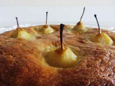 Pears Sunken in Almond Cake