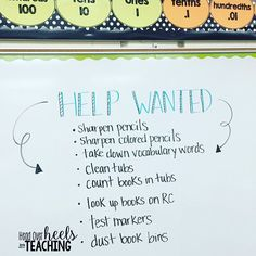 Need help with some of your end of the year chores? Put up a help wanted board for students to chip in. I've done this for a few years now and it keeps me organized and prevents my kids from asking me if I need help every few minutes 1st Grade Writing, Fourth Grade Math, 4th Grade Classroom, Homework Chart, Book Bins, End Of Year Activities, Teaching Career, Core Curriculum, End Of School Year