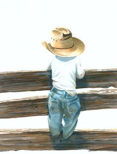 Little Britches Jill Wyatt Images Vintage, Cowboy Art, Painting People, Diy Canvas Art, Western Art, Learn To Paint, Beach Art, Pencil Art, Watercolour Painting
