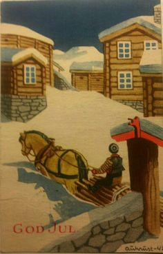 Julekort Kjell Aukrust brukt 1942 Utg Mittet Christmas Postcards, Christmas Cards, Norway, Painting, Vintage, Art, Christmas E Cards, Art Background, Xmas Cards