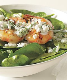 Shrimp Skewers With Tzatziki Spinach and Feta!! | bonappetit.com, gonna do this as a salad not skewers!