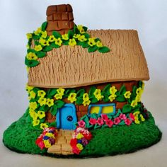 Handmade Miniature Brick House with Flowers OOAK Clay sculpture