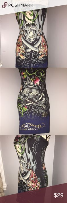 """ED HARDY Christian Audigier Body Con Dress SIZE S ED HARDY by Christian Audigier SKULL Tiger Rose Eternal Love Body Con Dress  SIZE: S Small  Style: Strapless  Measurements laid flat: (Has elastic in bust area - stretchy material) Underarm to underarm: 13.5"""" Underbust: 13.5"""" - (Has a shelf built in bra) Length: 26""""  Designs:  Tiger Skull Rose vines Tattoo - Eternal Love Gold Ed Hardy signature By Christian Audigier Doned Hardy designs    QUICK FAST SHIPPING (within 24 hours - Monday…"""