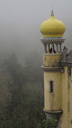 The Pena National Palace, Sintra, Portugal. The major expression of Romanticism in the world -> architectuur beïnvloed door oosterse invloeden Sintra Portugal, Spain And Portugal, Portugal Travel, Places Around The World, Oh The Places You'll Go, Places To Travel, Around The Worlds, Beautiful World, Beautiful Places