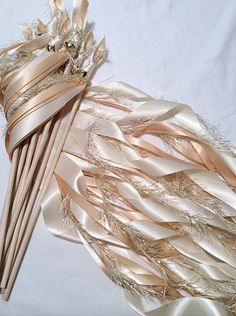 100 Wedding ribbon wands ivory and toffee by TheBridesMadeShop