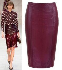 Plum Leather Skirt