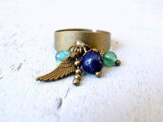 Bague Lapis Lazuli bleue, pampilles perles naturelles gemmes sur ezebee.com/fr Titanium Rings, Turquoise, Jade, Gold Rings, Motifs, Etsy, Stuff To Buy, Jewelry, Collection