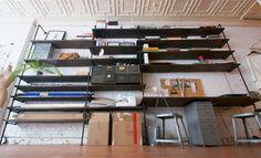 diy industrial shelves. tutorial also found @ the-brick-house.com