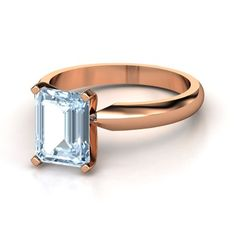 Emerald-Cut Aquamarine 14K Rose Gold Ring - lay_down