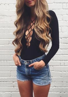 Black Lace-Up Knit Bodysuit