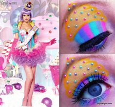 Candy cupcake makeup look I'd do this personaly only cuz I adore cupcakes - Candy Costumes Costume Cupcake, Costume Bonbon, Candy Land Costumes, Girl Costumes, Halloween Costumes, Halloween Makeup, Candy Girls, Candy Makeup, Eye Candy