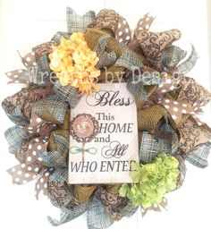 Bless this Home Wreath by WreathsbyDesign1 on Etsy, $75.00