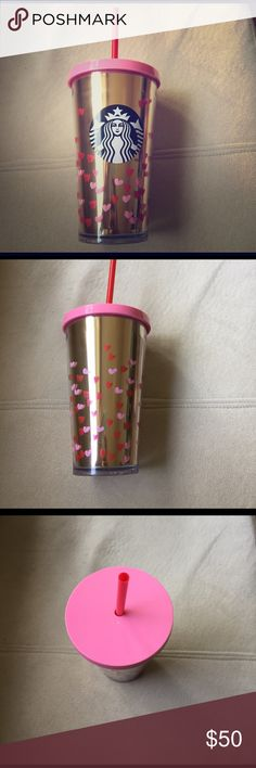 Limited Edition Valentine's Starbucks Cold Tumbler Adorned with pink and red hearts, this Starbucks tumbler is perfect to dress up any outfit! Rare and limited. starbucks Other