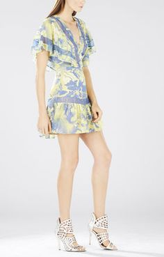 Karian V-Neck Flutter-Sleeve Dress