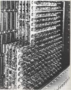 The first computers used vacuum tubes for circuitry and magnetic drums for memory, and were often enormous, taking up entire rooms. They were very expensive to operate and in addition to using a great deal of electricity, generated a lot of heat, which was often the cause of malfunctions (1940-1956).