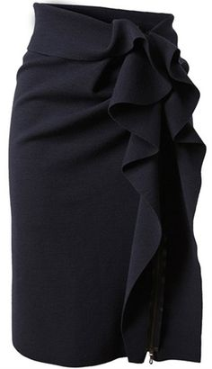 Ruffled black pencil skirt. - Click image to find more womens fashion Pinterest pins