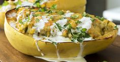 Green Chile Chicken- Stuffed Spaghetti Squash