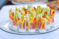 Colorful, thinly sliced veggie appetizers