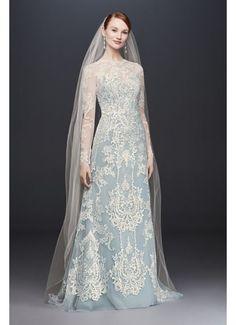 Illusion Lace Long-Sleeve Sheath Wedding Dress CWG782