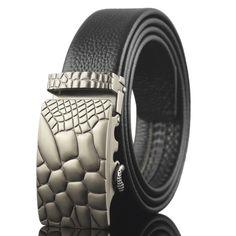 100% genuine leather belt stone print buckle belts men