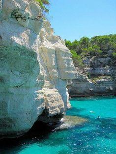 Turquoise Sea, Menorca Island,  Spain  #travel #Spain http://www.HotelDealChecker.com