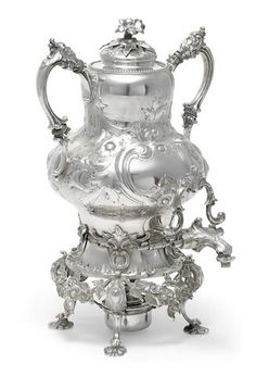 An American sterling silver hot water urn-on-stand the urn by John C. Moore for Tiffany & Co., New York, NY, circa 1854-1869; the stand unmarked, the burner associated